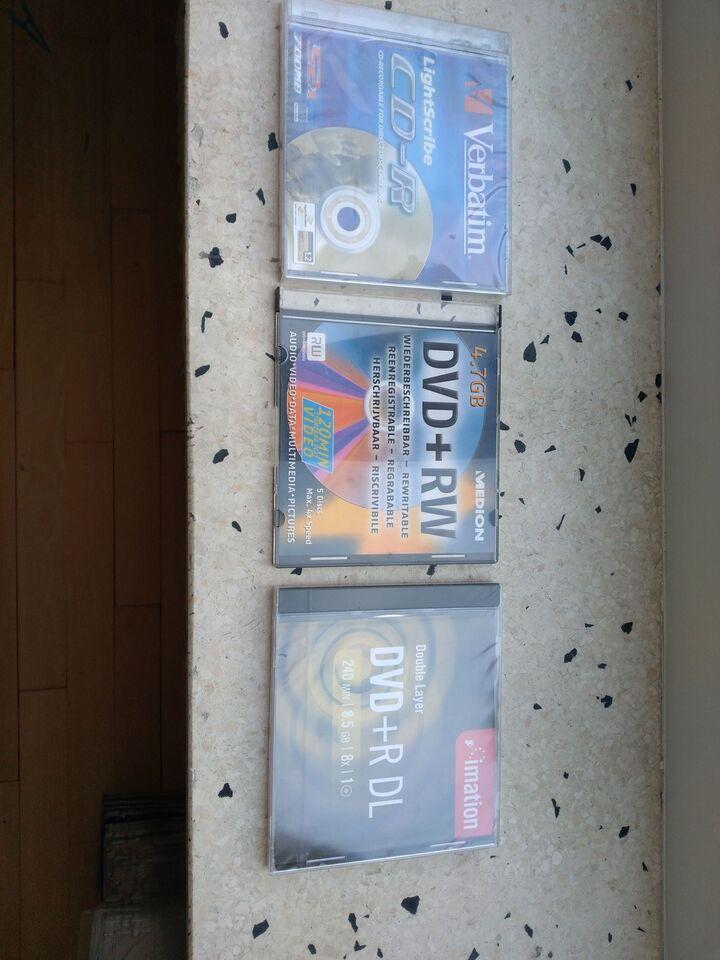 Blanke CD'er, DVD'er og kassetter til dem