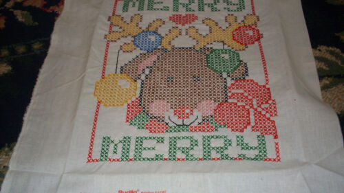1992 Bucilla Completed Cross Stitch Sampler Picture Merry Christmas Reindeer FUN