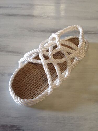 Women/'s Size 6 Wide Rope Sandals White