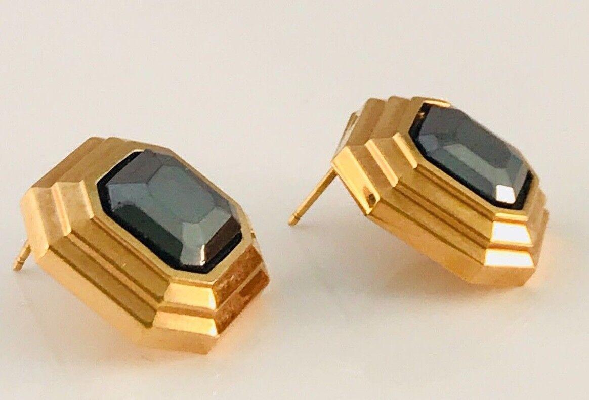 Vintage Lanvin Gold Tone and hematite Square earr… - image 5
