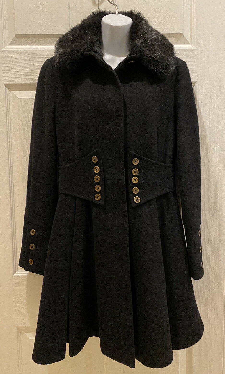 Betsey Johnson Black Wool Blend Fit & Flare Corset Coat Removable Faux Fur SMALL