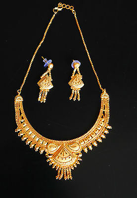 Partywear Gold Plated Party Wear Indian  Necklace & Earrings Jewellery Set S3