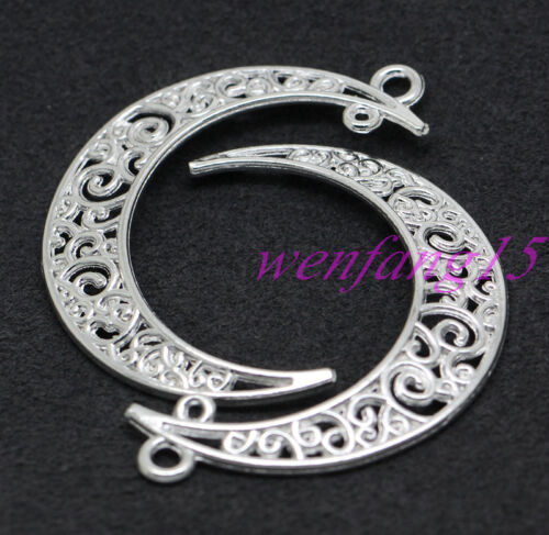Tibetan Sliver jewelry finding Charm pendant hollow out Moon 100pcs 45x34mm
