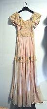 Vintage Pink/Peach Lace w/ Aqua Bow Dress - Bridesmaid/Maid of Honor Wedding,