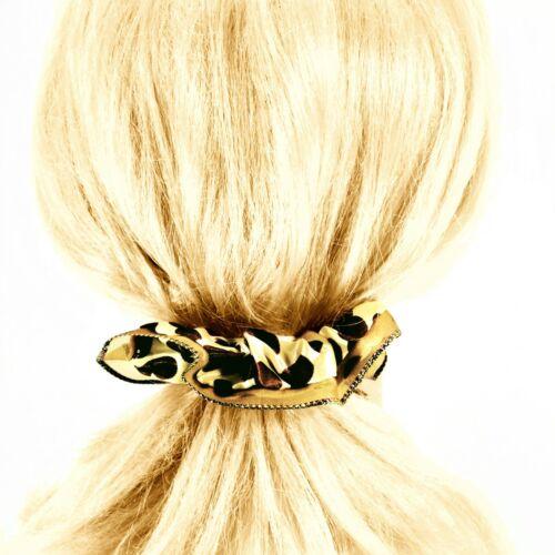 2X Satin Hair Scrunchies Silky Gold Polka-Dot Print Ponytail Holders /_09-1903