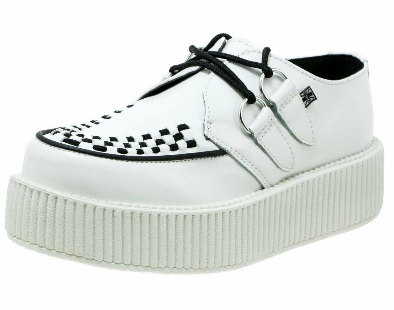 T.U.K. A8649 Tuk  Unisex Classy WEISS Viva Mondo Creepers s Leder Schuhes