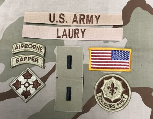 Funsport 9 US ARMY patch Set DCU Desert Uniform Konvolut 4th ID AIRBORNE 2nd ACR Lt LAURY