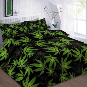 Image Is Loading King Cannabis Marijuana Leaf Weed Green Black Duvet