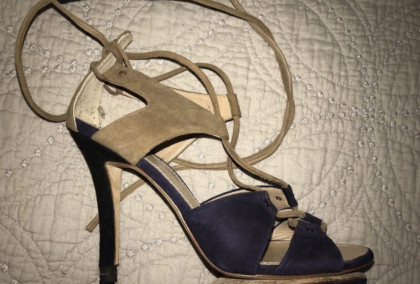 Proenza Schouler Navy Blau Tan Taupe Suede Lace Up Sandales Heels 39 EUC