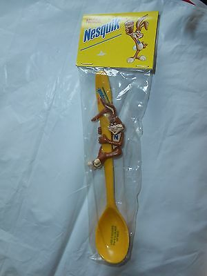 "1 RARE NESTLE QUIK NESQUIK CHOCOLATE BUNNY RABBIT HANDLE 6.5/"" SPOON STAINLESS"
