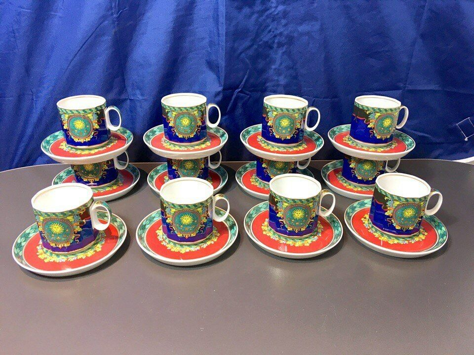 Rosenthal Versace Polygon Le Roi Soleil 12 pcs. Coffee Cups - Re Sole - NEW