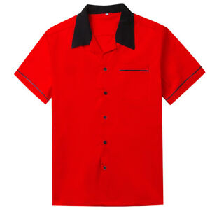 Casual-Shirt-Cotton-Short-Sleeve-Mens-Clothing-Red-Yellow-White-Size-L-XL-XXL