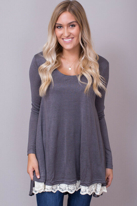 Lace Long Sleeve Charcoal (Umgee)