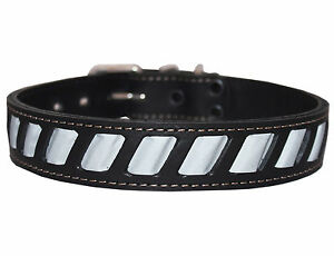 """High Quality Genuine Leather Reflective Dog Collar 26""""x1.5"""" Fits 18""""-23"""" Neck"""