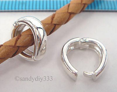 1x BRIGHT STERLING SILVER CHANGEABLE PENDANT CLASP BAIL SLIDE Donut Holder #2201