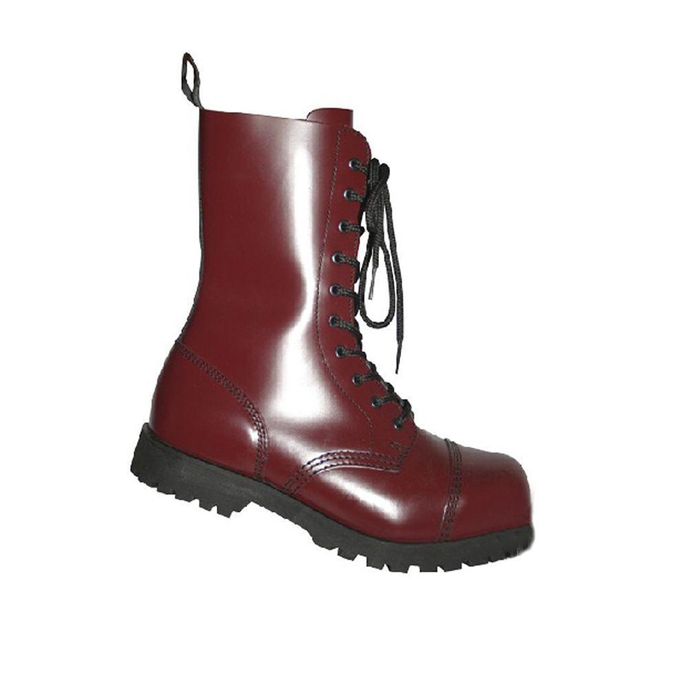 botas & Braces 10 agujeros botas Cherry-acero capuchón-schnürbotas-RocknRoll-cuero