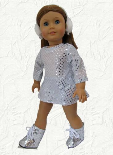 Doll Clothes Skating Dress /& Earmuffs Silver Sequin Fits 18 inch American Girl