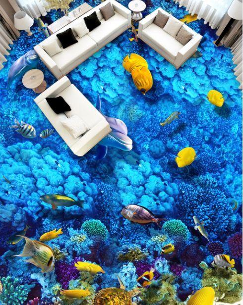 3D oceano blue pesce Pavimento Foto Wallpaper Murales Muro Stampa Decalcomania