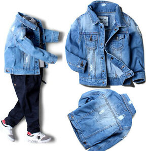 14f2d9c798 Image is loading Toddler-Kids-Boys-Ripped-Distressed-Denim-Jacket-Fashion-