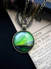 Northern Lights Necklace Pendant Space Aurora Borealis Green Sky Fantasy Bronze