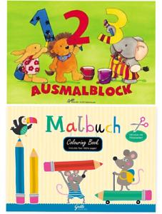 Malbuch-Malblock-1-2-3-Zahlen-Tiere-Malstifte-Einschulung-DIN-A7-Gratz-Verlag