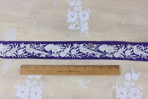 Antique Chinese 19thC Hand Embroidered Bird & Floral Silk Trim c1880