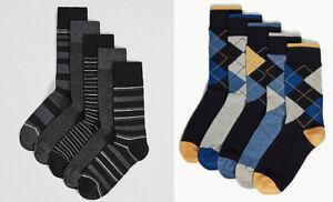 M-amp-S-Hombres-Paquete-De-5-pares-Cool-Freshfeet-Negro-Azul-Gris-Mezcla-De-Algodon-Calcetines-8-12