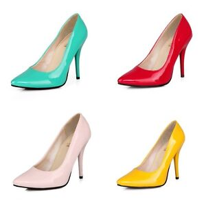 Women-039-s-High-Heels-Stiletto-Pointed-Shoes-Patent-Leather-Pumps-US-Size-2-14-D125