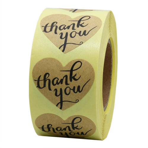 Love Heart Shape Thank You Kraft Paper Stickers 10 roll,total 5,000 stickers