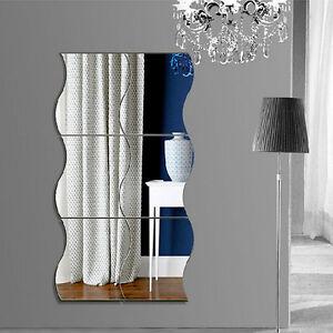 modern home wall mirror sticker wave removable acrylic art vinyl