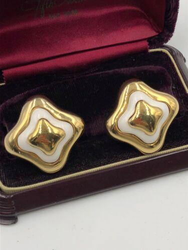 VINTAGE LANVIN SIGNED GOLD ENAMEL EARRINGS CLP FR… - image 1