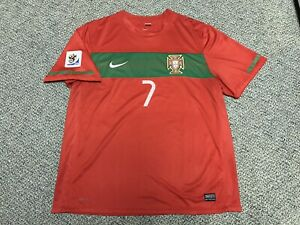 newest af9dc 159b5 Details about 2010 Portugal Ronaldo Jersey Red Home Nike Kit Shirt Xl Fifa  World Cup 7 Green