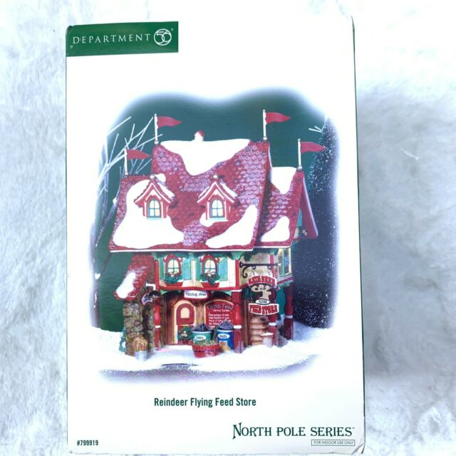 DEPT 56 NORTH POLE SERIES REINDEER FLYING FEED STORE NEW Never Opened Retired
