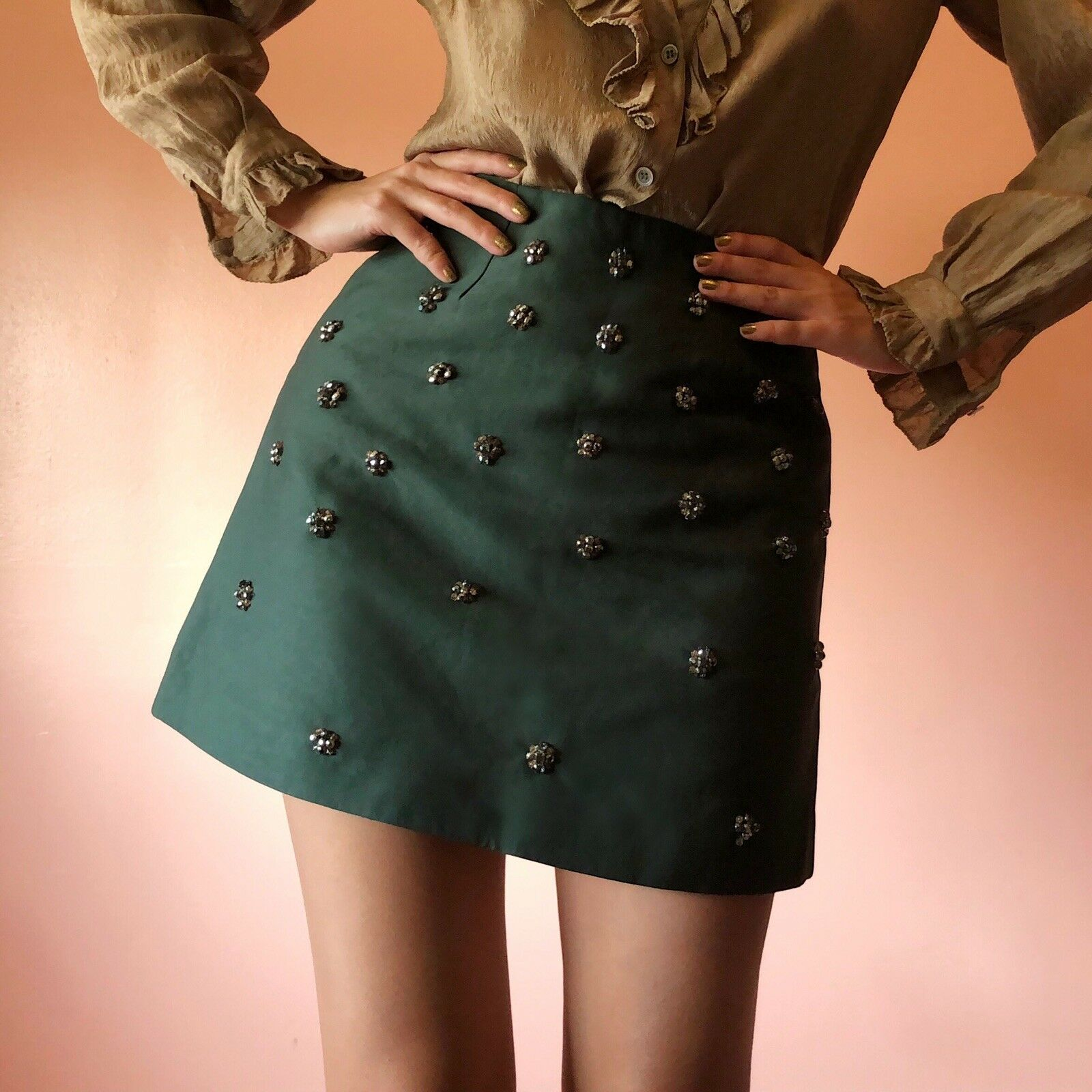 C MEO Collective Embellished Forest Mini Skirt NWT