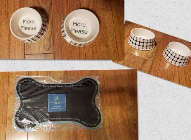 New 2 Black Ceramic Pet Bowls Set with Mat