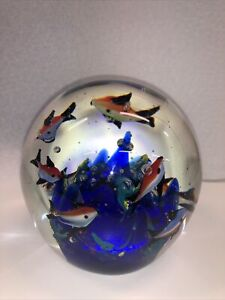 Vintage Italian Murano Aquarium w/ Neon Fish, Coral Art Glass Paperweight
