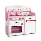 Wooden Children Kids Toy Pretend Play Kitchen Set W 12 Additional Cookware Pink