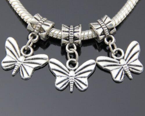 30pcs Tibetan Silver Butterfly Dangle Charms Fit European Bracelet ZY256
