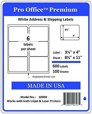 "Pro Office 4"" x 3 1/3"" Self-Adhesive Shipping Address Labels, 5164 FBA  6/Shetts"