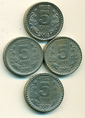 4 Different 5 Rupee Coins From India - All 2003 W/ Mint Marks Of B, C, N & T.