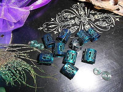 Dread Beads Cuff Clip Dark Forest Green Metallic Finish Dreadlock Accessories UK