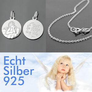 Kinder Baby Gott schütze Dich Schutz Engel mit Rundanker Kette 38 cm Silber 925
