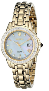 NWT-Women-039-s-Seiko-SUT172-Gold-Tone-Stainless-Steel-Diamond-Accent-MOP-Dial-Watch
