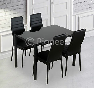 Designer-Rectangle-Glass-Dining-Table-Set-and-4-Black-Faux-Leather-Chairs-Seats
