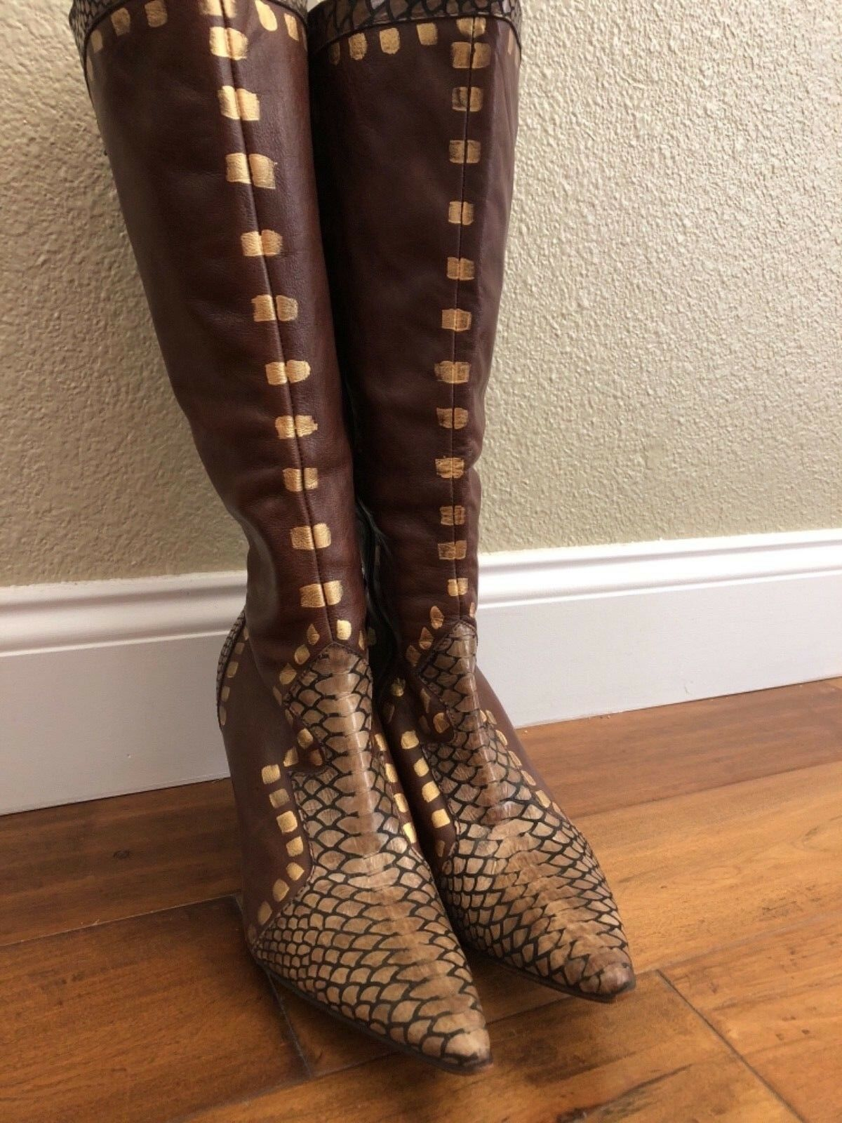 Cervato  Caramel Tan Brown Genuine Leather High Knee Boots size 39