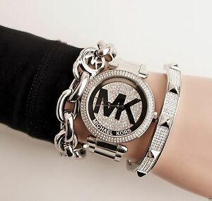 Details about Original Michael Kors Watch Women's mk5925 Stainless Color Silver Crystal New