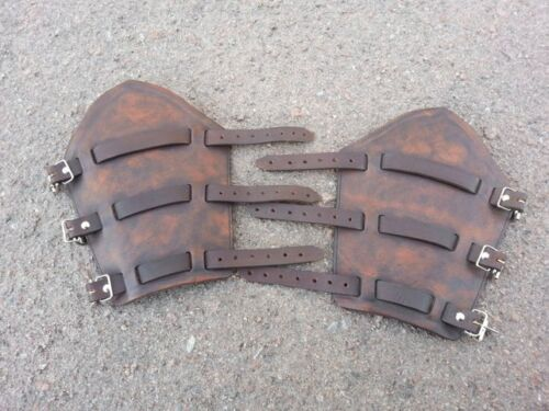 Medieval Pair of bracers leather armor for Viking cosplay or larp costume LOTR
