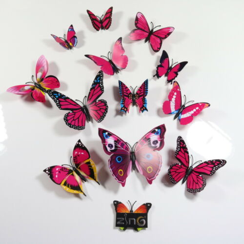 12Pcs Papillons À faire soi-même Décorations Papillon Art Autocollant tous Home Room Decor Wall