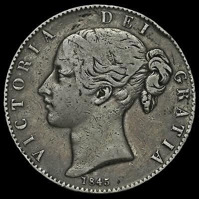 1845 Queen Victoria Young Head Silver Crown, Cinquefoil Stops, AVF