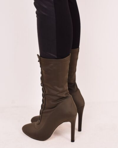 Ladies Womens Winter Lace Up High Heel Ankle Boots Casual Fashion Shoes Size 3-9
